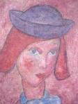 František Žváček - Portrét dívky v kloboučku