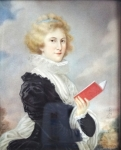 Heinrich Friedrich Füger - Portrait miniature lady with a book