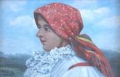 Medek - Portrét ženy v krojovém šátku