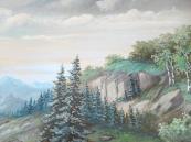 Kučera - Krajina s břízami a pohořím v pozadí