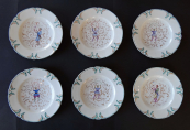 Six saucers with chinoiserie - Klösterle, year 1873