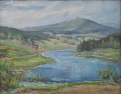 Ladislav Hájek - Podhorská krajina s vodní plochou