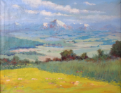 Horacek - Summer meadow with mountains in the background