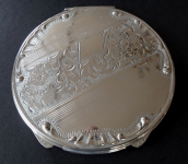 Silver round powder box without monogram