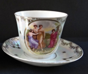 Big cup with saucer, crack - Karlsbad