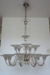 Large glass chandelier with flowers