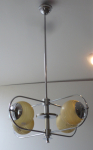 Chandelier with oval arms made of white metal