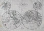 Johann Walch - Mapa zeměkoule s hemisférami