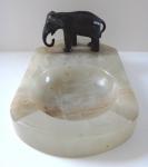 Marble ashtray with bronze elephant
