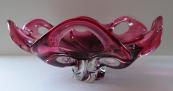 Mísa z čirého a růžového hutního skla