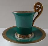 Zelený moka šálek v empírovém stylu - Dubí u Teplic