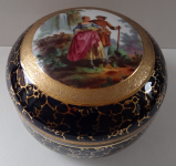 Large porcelain box with gallant pair