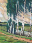 Birches near water - not signed