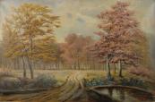 L. Gilbert - Podzimní krajina s cestou a listnatými stromy
