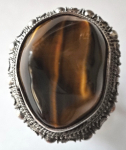 Silver ring with tiger eye