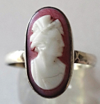 Silver ring with pink cameo