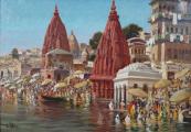 Otakar Číla - Váránasí ( Benáres ) s řekou Ganga