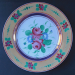 Plate with roses and ocher trim