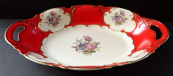 Oval red bowl with flowers - Altrohlau