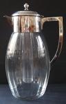 Velký skleněný džbán, se stříbřenou montáží