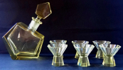 Carafe and six glasses - yellow glass