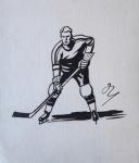 Marcel Niederle - Hokejista s hokejkou u ledu