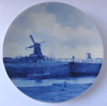 Plate with windmills - faience, Delft