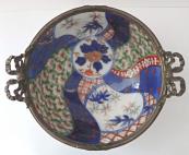 Japonská porcelánová miska, s bronzovým okrajem