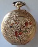 Zlaté dámské kapesní hodinky, se smalty - Saphir