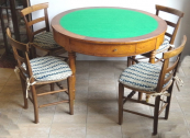 Table, four chairs with straw weaving, marble-topp