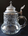 Tankard with tin lid and monogram