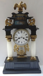 Column commode clock with lions and eagle - biedermeier