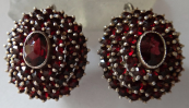 Silver round earrings - czech garnet