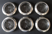 Six round bowls, silver border - Frank M. Whiting & Co.