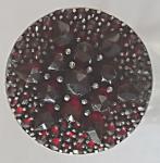 Granátový kulatý prsten, stříbrný