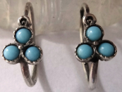 Silver earrings, with forget-me-not