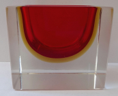 Massive glass rectangular bowl - Murano