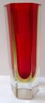Hraněná vázička, s rubínovým a žlutým sklem - Murano
