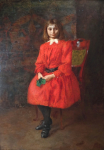 Geza Peske - Girl in red dress