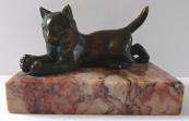 Bronze kitten with a ball - on  pedestal