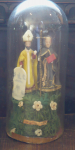 Wax statuettes Cyril and Methodius -  glass cover
