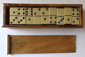 Domino in wooden box - ivory plates ?