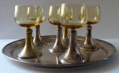 Silver-plated tray and six glasses - Sandrik