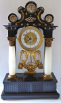 Biedermeier portal column clock, with a music machine