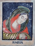 Reverse glass painting - Virgin Mary
