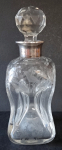 Glass bottle, flacon, with silver neck