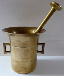 Polished bronze mortar and pestle