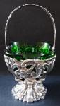 Biedermeier silver basket, with green glass - Germany