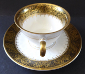 Coffee cup with golden and black roses - Rosenthal