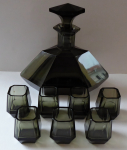 Carafe and seven cups, art deco, smoke glass